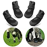 Hcpet Stivali Protettivi per Cani, 4 Pezzi Scarpine Protettive Antipioggia Antiscivolo per Cani per Piccolo a Grande Cani - Nero (3#)