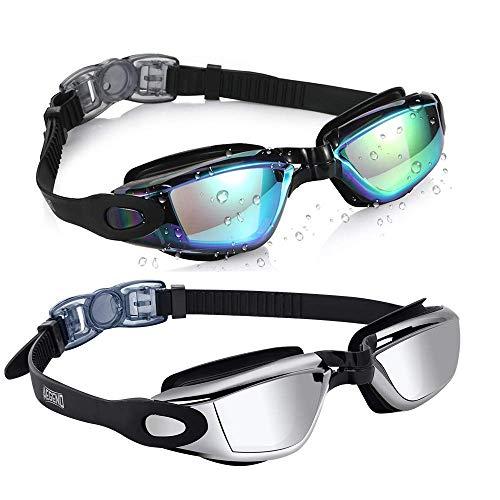 Aegend Pack of 2(Black Mirrored Lenses&Black Silver Lenses) Triathlon-Schwimmbrille, verspiegelt,...