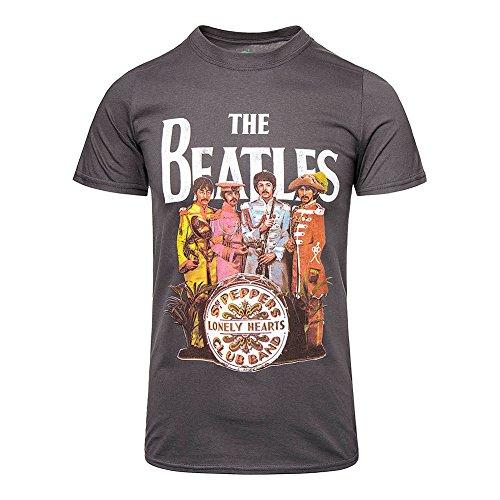 Beatles, The - Hombres Sgt. Pepper T-Shirt en carbón de leña, Large, Charcoal