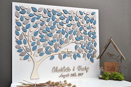 Personalisierbares, einzigartiges 3D-Hochzeits-Gästebuch, Motiv: Lebensbaum mit silber-blauen Blättern, 30 x 40 cm, holz, Custom, 40 x 50 cm
