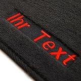 Auto Fußmatten 1K / 5K Velour, Bestickt mit Individuellen Text, 4-teilig, Rot