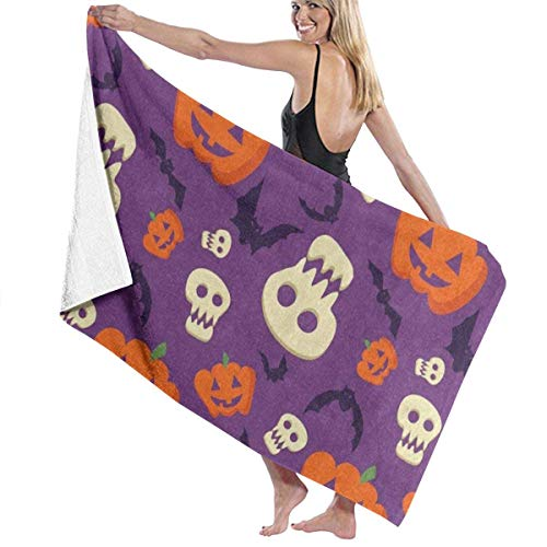xcvgcxcvasda Serviette de bain, Halloween Pumpkin Face Bat Personalized Custom Women Men Quick Dry Lightweight Beach & Bath Blanket Great for Beach Trips, Pool, Swimming and Camping 31