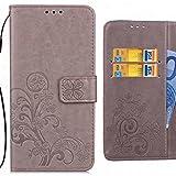 Handyhülle LG X power2 Hülle Tasche, Ougger Kunst Blatt Beutel BriefHülle Tasche Bumper Schale Schutzhülle PU Leder Weich Magnetisch Silikon Haut Flip Cover mit Kartenslot (Grau)