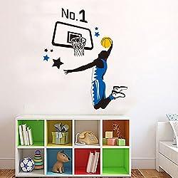 Wallpark Jugando Baloncesto Deportes Hombre Desmontable Pegatinas de Pared Etiqueta de la Pared, Sala Bebé Niños Hogar Infantiles Dormitorio Vivero Decorativas DIY Arte Murales
