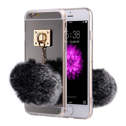 iPhone Case Cover Pour iPhone 6 & 6s miroir de galvanoplastie TPU Housse de protection avec pendentif en forme de boule Furry ( Color : Grey ) Black