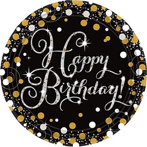 amscan 9900548 8 Papierteller Sparkling Happy Birthday, Gold (Cool Halloween-kostüme Duo)