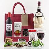 Natures Hampers Luxus Italienischer Rotwein & Snacks Geschenkkorb - Chianti Italienischer Wein im Korb - Snacks & Wein Set - Geburtstag für Männer - Geburtstag für Frauen - Vegetarier - Weihnachtsgeschenke