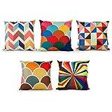 Top Finel Multicolor Geom¨¦trica Lino Fundas Cojines para Cama Decorativos Almohadillas para Sillas Sofa Conjunto de 5,45 x 45cm,Serie