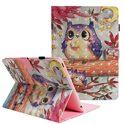 iPad 2/3/4 Folio Fall, zaox Mädchen Cute Blume Slim Fit Leder Flip Stand Schutzhülle Smart Case mit Karten Slots stoßfest Book Cover für Apple iPad 2/iPad 3/iPad 4. Generation 24,6 cm, Star Owl Forest - Griffin Case Ipad 2 Apple Air