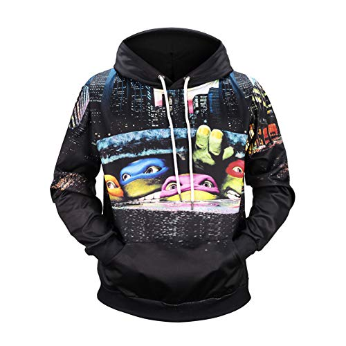 SPONSOREY Hoodie Klassisch Cartoon Ninja Turtle Printed Mit Kapuze Outdoor Casual Langarm Lose ()