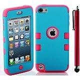 ShopmallHK PC + TPU Mode de conception de style de couleur de contraste Hard Case Hybrid impact Blindé pour Apple iPod Touch 5 (bleu + rose)