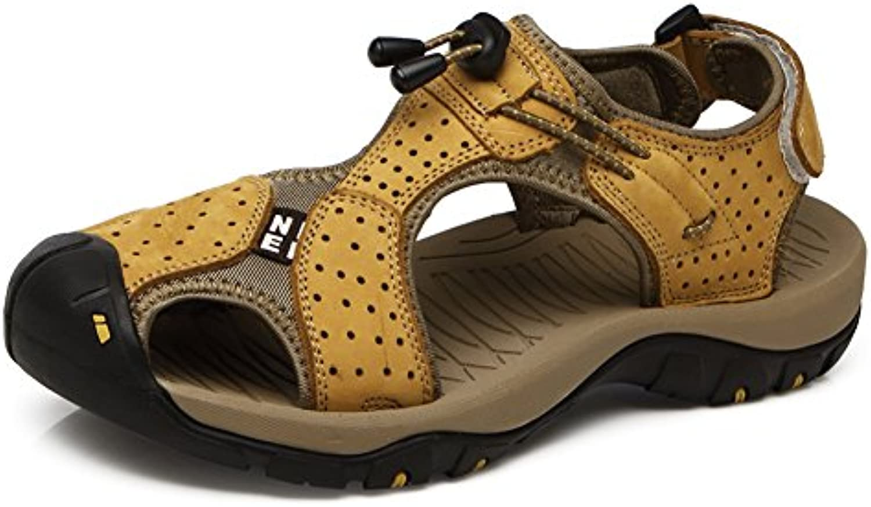 Männer Sandalen Schuhe mit Leder Geschlossene Zehe für Sommer Strand Mode und Wasser Schuhe mit Klettverschluss