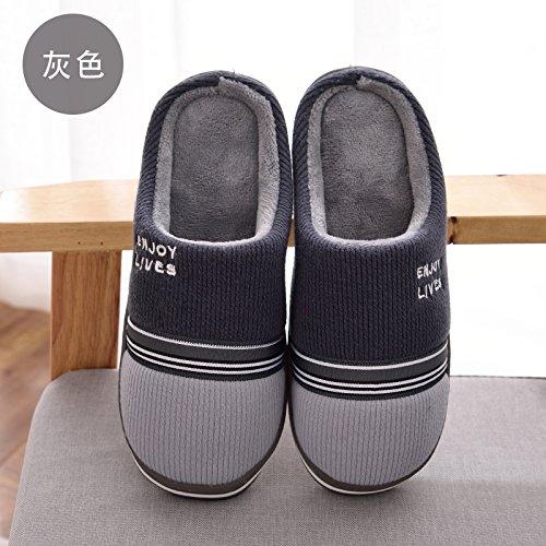 DogHaccd pantofole,Nella caduta di cotone pantofole inverno uomini e donne caldo inverno peluche spesse pantofole home soggiorno pacchetto coppie con le scarpe Il semi-grigio2