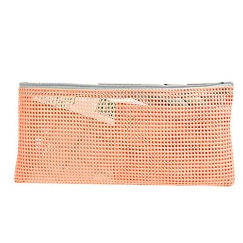 KOROWA Mesh Design Zipper Damen Make-up Tasche Mesh Storage Taschen Lingerie Case Kosmetik Tasche Rosa