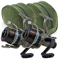 2 x Lineaeffe Commando 60 1BB Camo Freespool Carp Runner Specimen Fishing Reels Pre-Loaded with 12lb Carp Line & 2 x Protective Carry Case