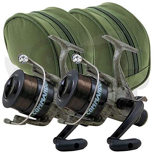 2 X Lineaeffe Commando 60 1BB Camo Spulenfreilauf Carp Runner Specimen Fischen Rollen Bespult mit 12lb Carp Line & 2 X Schutz Tragetasche