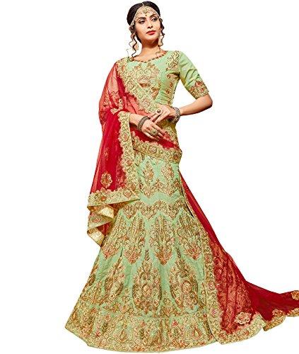 Indian Ethnicwear Bollywood Pakistani Wedding Light Green A-Line Lehenga Semi-stitched-ROY26851