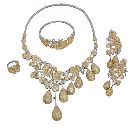 muck American Diamant Schmuck Halsketten Set AD Ohrringe Kostüm Frauen Herz und Pfeile Zirkonia (Das Kostüm Design Prozess)