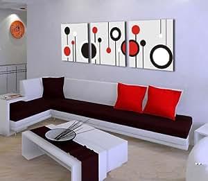 Copie de toile d'art de mur Home Decor moderne abstrait cercles rouges peinture, etire et encadree, pret a accrocher 16x16inch 3pc # 01-809925 noir et