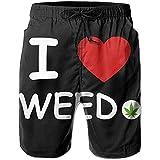 Sainbury Herren Boardshorts I Love Weed Badehose Quick Dry Beach Shorts mit Taschen für Teens