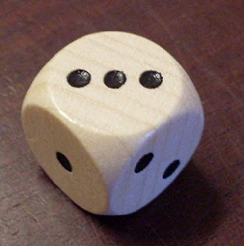 Holzwürfel, naturfarben, Spezial-Würfel mit den Punktwerten 1,2,3 / 1,2,3 (ohne die Punktwerte vier bis sechs) - 3 Würfel