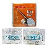Alice Banjo String 1ère/2ème/3ème/4ème/5ème en acier inoxydable enduit jeu de cordes en alliage de cuivre, Pack de 5 jeux
