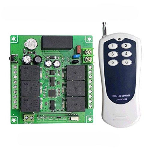 Lejin 6 Kanal 230VAC Funk-Empfänger Funkfernsteuerung kabellose Fernbedienung Funksteuerung Garagentore Controller 10A 433MHz Licht Motor fernbedienung Schalter