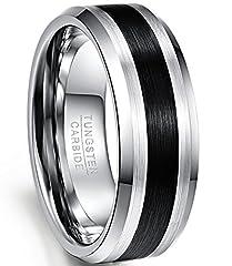 Idea Regalo - Nuncad Uomo/partner/amici/Anello tungsteno per il tempo libero, larghezza esterna 8 mm Comodo, finitura lucida e lucidata, anello da uomo, taglia 52