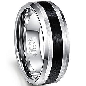 Nuncad Ring Herren/Damen Wolframcarbid Silber_schwarz, Außenbreite 8mm hochpoliert am Randbereich, Innen Finish gebürstet ✔Hochzeit ✔Freizeit ✔Arbeit ✔Geburstag ✔Party ✔Partner ✔Freunde, Größe 49-72