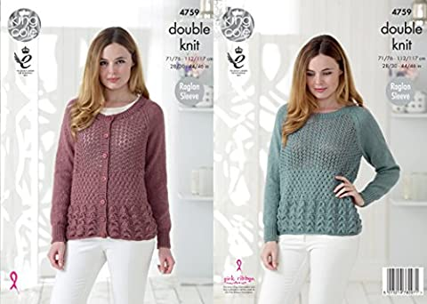King Cole 4759 Knitting Pattern Womens Raglan Sweater and Cardigan in King Cole Glitz DK