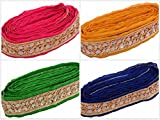 #8: Am Fabric Fashion Zari-Kundan Laces For Dress/Sarees/Blouses,Suits,Caps/Bags/Decorations Multipurpose In 4 Different Colors Combo, Pack Of 4 Meters
