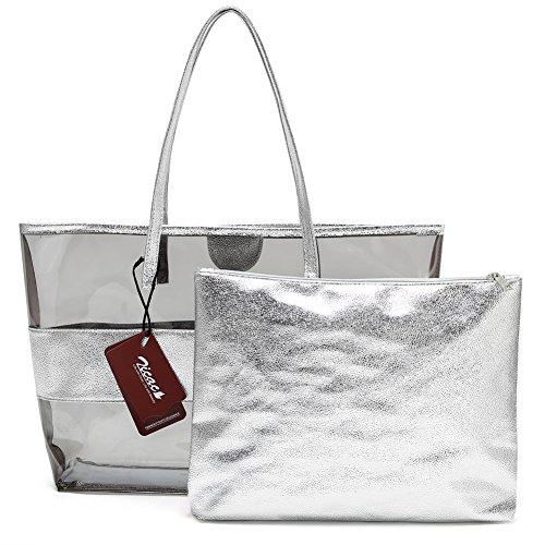 Zicac donna BORSA TRASPARENTE in pvc con borsello interno per cosmetici o solari Argento