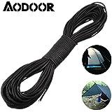 Aodoor Cuerda específica de escalada,Cuerda de supervivencia ( 31 m, hasta 249 kg, no está diseñada para la escalada ) (Negro)