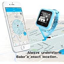 Rastreador de GPS localizador para niños reloj inteligente llamada de teléfono SOS pista de Bluetooth para iOS Android, color Azul - azul