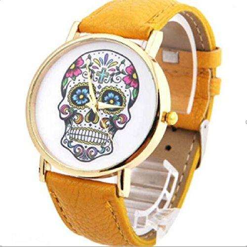 Fashion mujer Diseño de calaveras de piel sintética reloj de...
