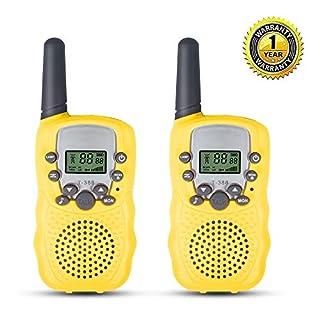 QZT T388 Walkie Talkie für Kinder, 3KM Spielzeug Hobbyfunker Walki Talki 8 Kanal mit Taschenlampe - Gelb