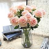 Ouneed® 1 Stücke Blumenstrauß Kunstblumen,1 Stücke Pretty DIY Artificial Silk Fake Flowers Leaf Rose Floral Wedding Home Decor Hot (Rosa)