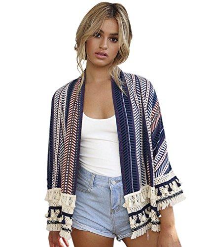 Sentao Donna Vintage Giacca Cardigan Casual Giuntura Maniche Lunghe Elegante In Maglia Cappotto Coat Jacket Top Outwear Stile 1