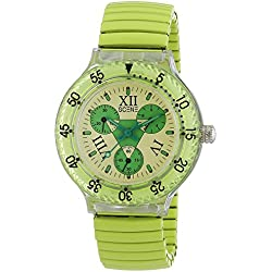 Scene Women's Quartz Watch with Multicolour Dial Analogue Display and Green Metal Strap SCE-2011-25