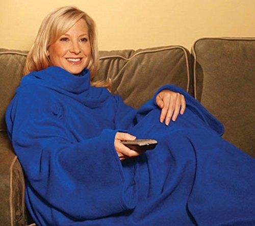 PREMIUM Kuscheldecke mit praktischen Ärmeln - perfekte Wärmeisolierung (140 x 180 cm) Blau - Ärmel Decke Ärmeldecke Fleece Wärmedecke Plaid (Eisen Plaid)