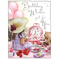 Birthday / Greeting Card (JJ2105) Birthday Wishes - Tea Party - Silver Embossed