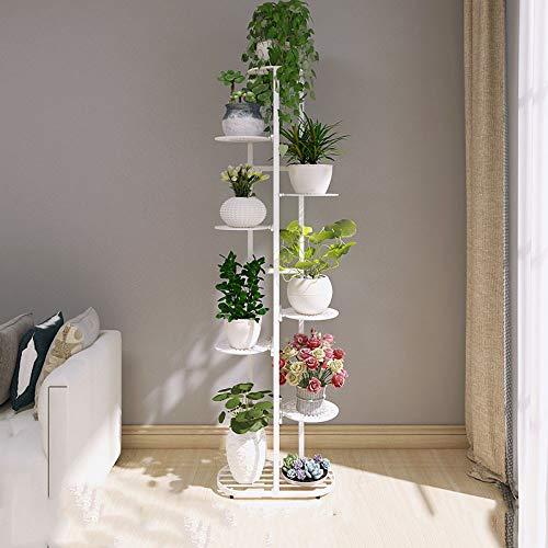 YAHAO Blumentreppe 5/7/9 Ebenen Aus Metall, Blumenständer Für Innen Und Außen Garten Balkon,White-L