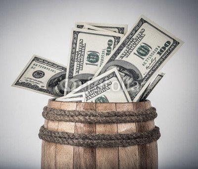 druck-shop24 Wunschmotiv: Wooden barrel with hundred dollar bills #121911133 - Bild auf Leinwand - 3:2-60 x 40 cm/40 x 60 cm