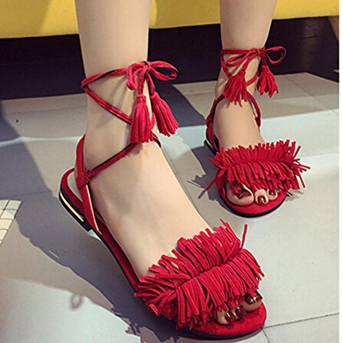 Omiky® Frauen Strappy Heels Pumps Hochzeit Tragen Low Cut Cross Gürtelschnalle Schuhe Rot
