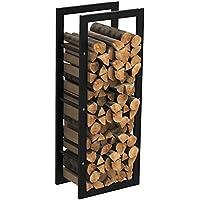 mctech® Metal Fuego Madera Leña estante estantería para leña Chimenea Leña Soporte de madera madera Estantería, 100*40*25cm