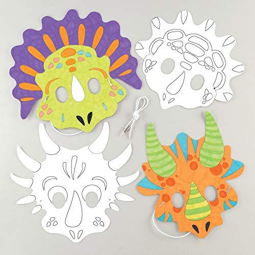 """(Baker Ross Masken """"Dinosaurier"""" zum Ausmalen (8 Stück) – Masken mit verschiedenen Dinos für Kinder zum Gestalten und Verkleiden)"""
