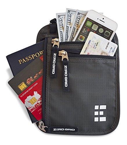 Pochette Tour de Cou Voyage Sécurisée - Portefeuille Passeport Organisateur RFID (Shadow Grey)