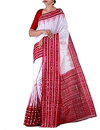 Unnati Silks Women White-Red Pure Handloom Sambalpuri Cotton Ikat Saree(UNM22064)