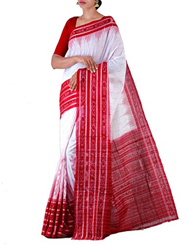 Unnati Silks Women White-Red Pure Handloom Sambalpuri Cotton Ikat Saree(UNM22064)