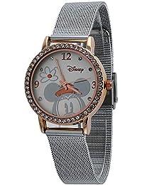 Disney mujer mn2062 Mickey Mouse Silver-tone de la correa de malla de reloj